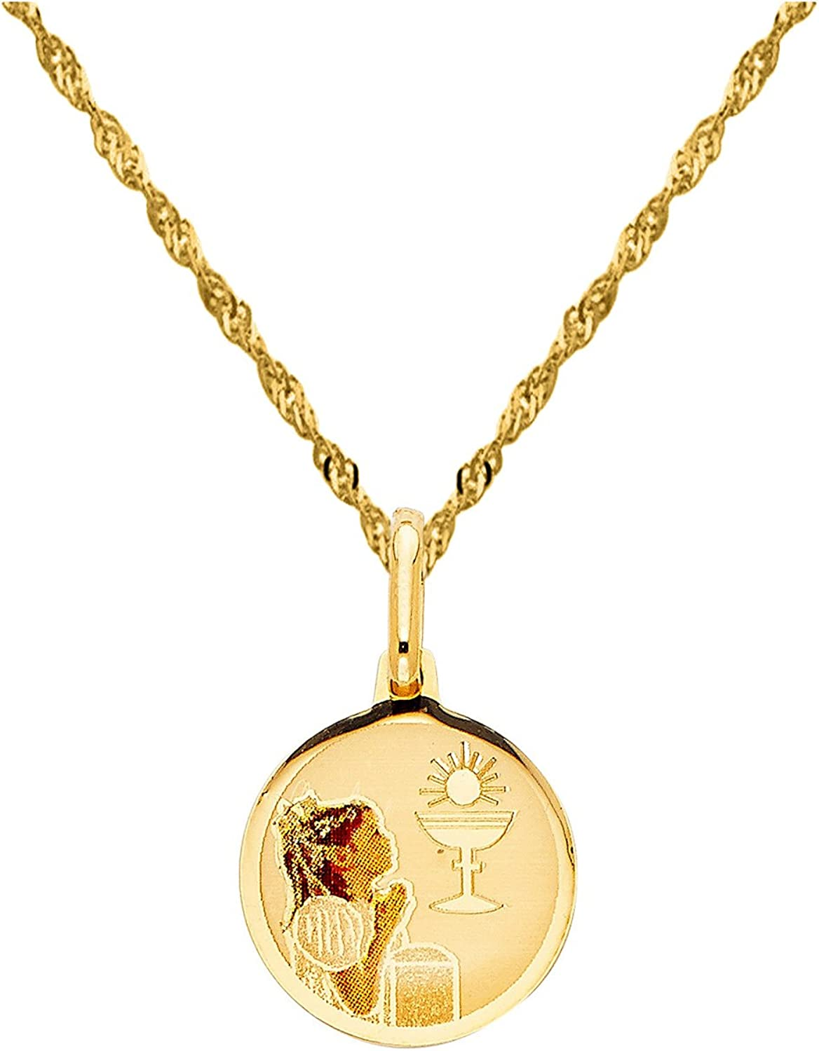 14K Yellow Gold Communion Cubic Zirconia CZ Charm Pendant with 1.1mm Wheat Chain Necklace