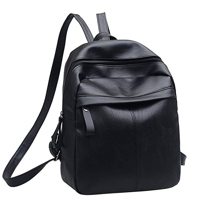 Amazon.com: Womens Backpack PU Leather Solid School Bags For Large Capacity Casual Women Black Backpacks: Sports & Outdoors
