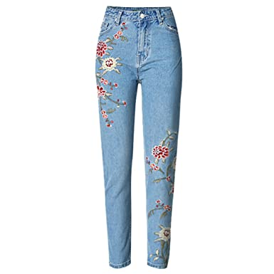 cc0e76b542 Felove Women's Floral Embroidered Jeans at Amazon Women's Jeans store