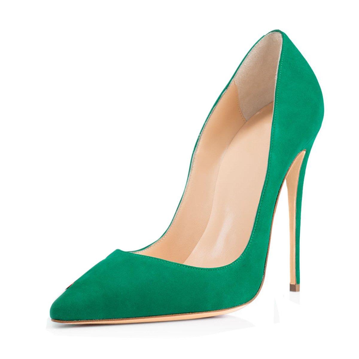 DYF Damenschuhe Soild Farbe Größe Scharfe High Heel Flache Mund Grün 36