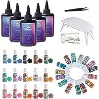 UV Epoxy Hars Crystal Clear Hard Type Kit met Lamp Pincet Parelmoer Kleurstoffen Hoge Pigmentatie, Super Fast Curing 1…