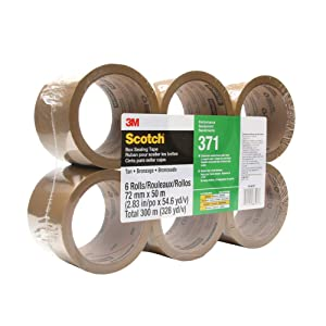 Scotch 371 Industrial-Grade Packing Tape, Tan, 72 mm x 50 m, High Performance Sealing Tape for Medium-Duty Commercial Box and Carton Sealing, Moving, Packaging and Shipping, 6 Pack