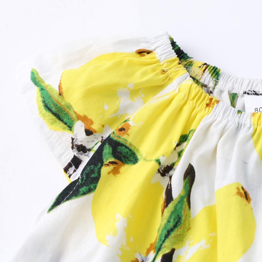 2019 Baby Girl Outfits, 2-Peice Toddler Kids Fruits Lemon Print Tops Shirt +Hole Denim Jean Shorts Clothes Sets (2-3 Years, Yellow) by Hopwin Baby girls Suits (Image #6)
