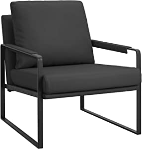 Modern Accent Chair with Arm Single Sofa Comfy Upholstered Armchair for Living Room Bedroom Furniture (Black)