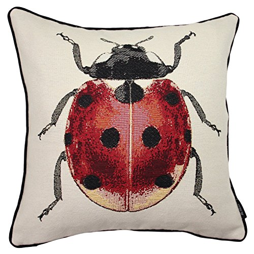 Little Lady Embroidered Pillow - McAlister Textiles Bugs Life | Woven Tapestry Ladybird Pillow Cover | Red Ladybird Embroidered 16x16 Throw Cushion Case | Textured Linen, Crewel Needlepoint | Country Accent Decor