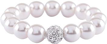 SIX Damen Armschmuck, elastisches Perlen Armband, Strasssteinkugel, Silber (748-008)
