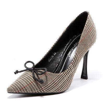 050c7410da529f Chaussure Talon Haut Femme Mode Chaussure Pointu Carreaux Noeud Élégante  Escarpins Talon Aiguille Brun 39