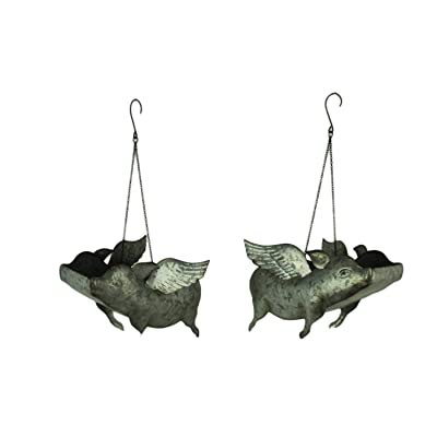 Galvanized Metal Flying Pig Hanging Planters Set of 2 LG : Garden & Outdoor