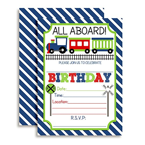 Train Birthday Party Invitations for Boys, 20 5