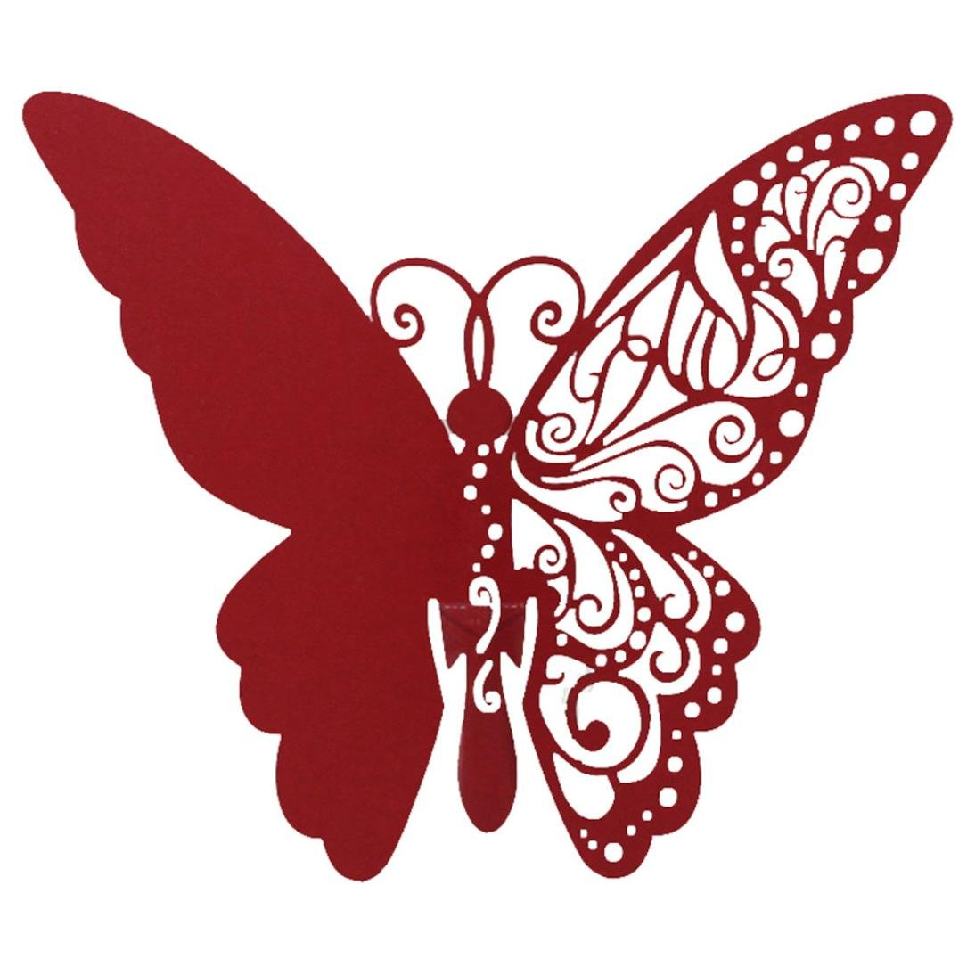 BB67 50 PCS Butterfly Laser Cut Paper Place Card/Escort Card Cup Card Wine Glass Card For Wedding Party Decoration (Red)
