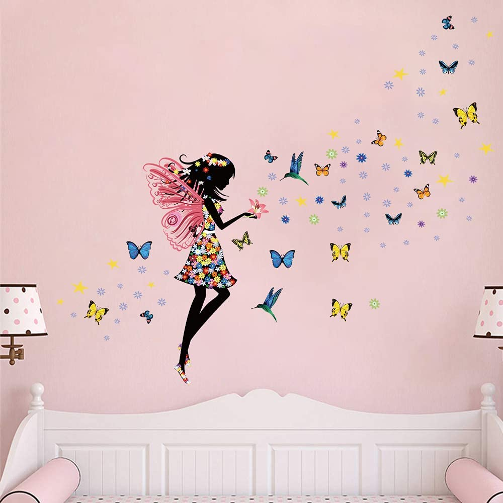 Supzone Butterfly Girl Wall Sticker Flower Fairy Wall Decal Colorful Butterfly Floral DIY Removable Vinyl Wall Art Stickers Mural for Girls Baby Nursery Kids Bedroom Living Room Wall Decor
