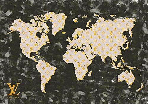 STAR DESIGN #td33 World Map Louis Vuitton ルイヴィトン オマージュポスター A1サイズ(594×841mm) カラー bk B01L16BBYUbk A1(594×841mm)