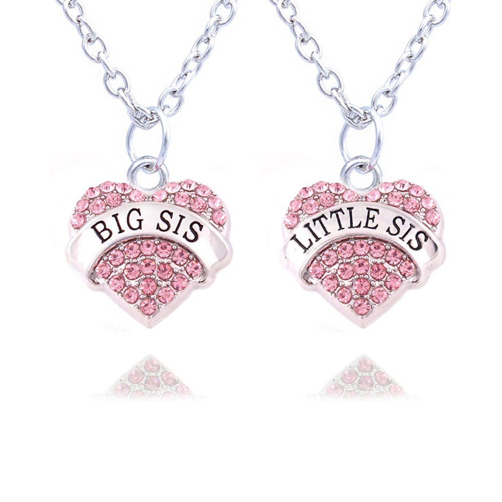2pcs Family Jewelry Set Crystal Big Little Sister Pendant Necklace for Women Girl lauhonmin A1173-CA