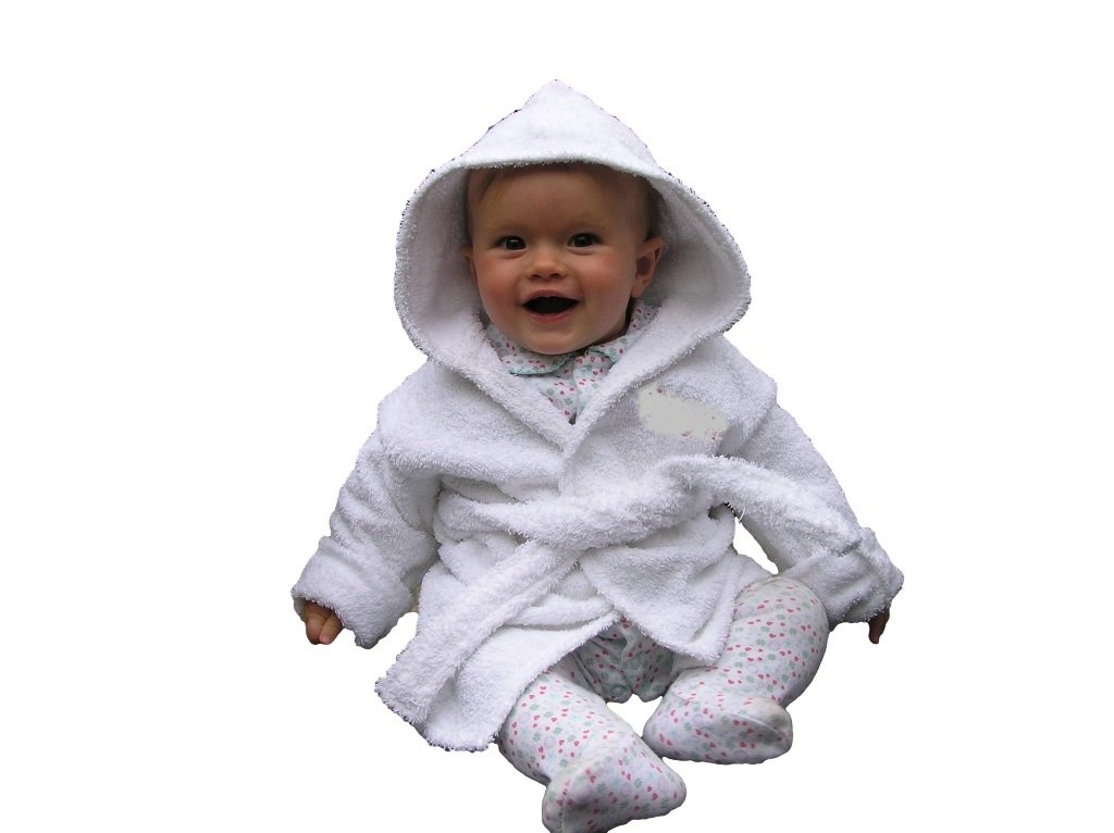 EFY White Baby Hooded Bath Robe or White Hooded Towel with a RABBIT Logo and Name of your choice. (Hooded Towel 0-5 years)