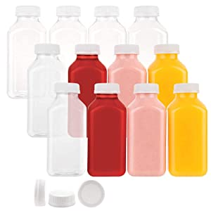 Disposable Plastic Juice Bottles 12 Oz with Lids | 12 Pack | for Water, Orange Apple Lemon Juicing, Smoothies, Milk, Reusable, BPA Free, Tamper-Proof Caps, Catering, Takeout
