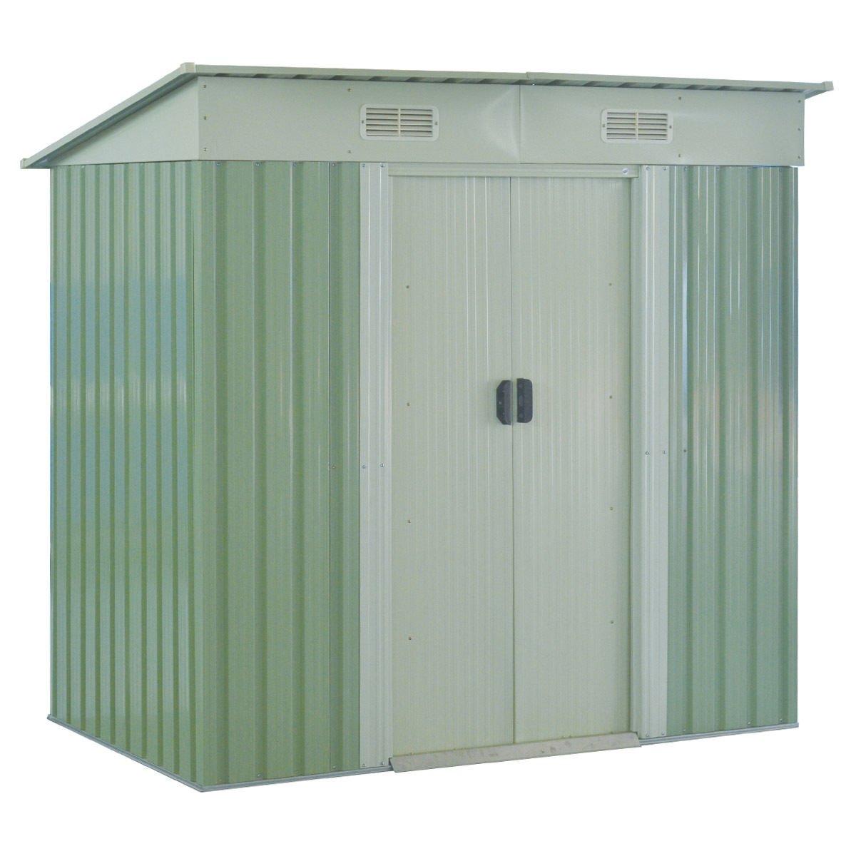 Goplus Garden Storage Shed Galvanized Steel Outdoor Tool House 4 x 6.2 Ft Heavy Duty W/ Sliding Door (Green)