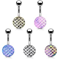 Blue Palm Jewelry 5 - Casted Steel Fish Scale 316L Surgical Steel Belly Button Rings 14 Gauge 3/8 Inch Navel Barbell B591