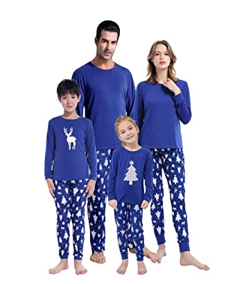 460d7b2905 MyFav Matching Family Christmas Pajamas Set Soft Cotton Clothes Sleepwear