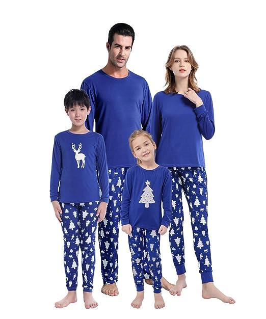 Family Christmas Pajamas Blue.Myfav Matching Family Christmas Pajamas Set Soft Cotton Clothes Sleepwear