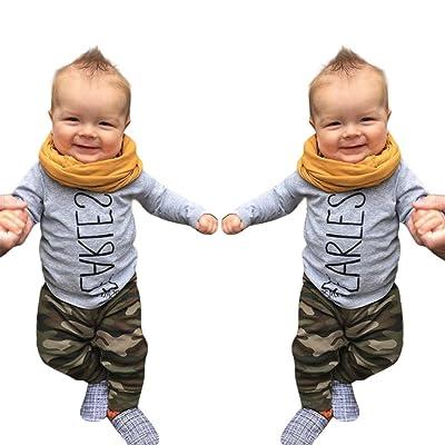 Sunbona 2pcs Set Outfits Toddler Baby Boys Letter Print T-Shirt+Camouflage Pants Clothes