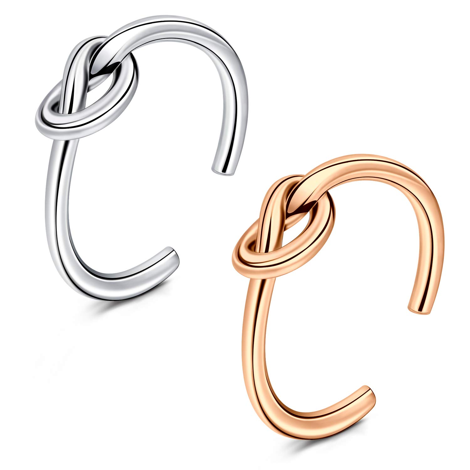 QWALIT Toe Rings for Women Girls Flower Knot Simple Open Adjustable Fingers Joint Knuckle Tail Ring Foot Jewelry Silver Rose Gold