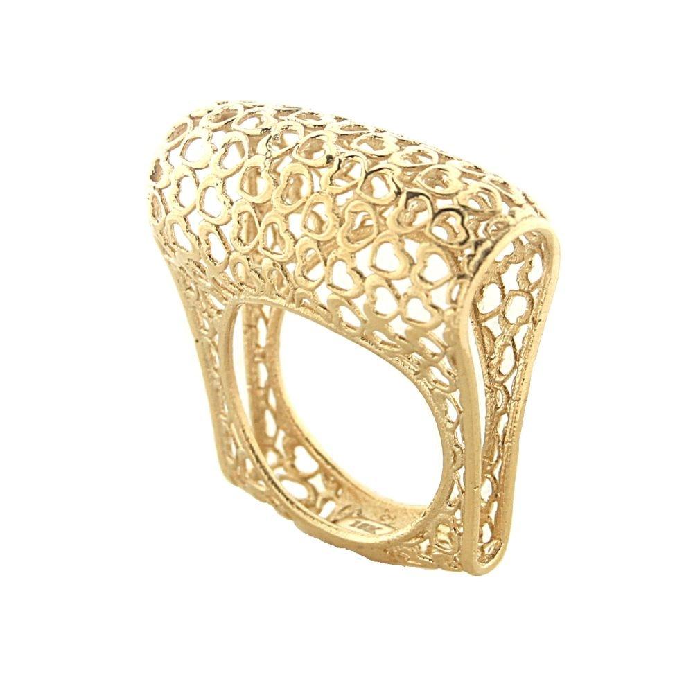 18K Yellow Gold mini open hearts design pattern Ring size 6