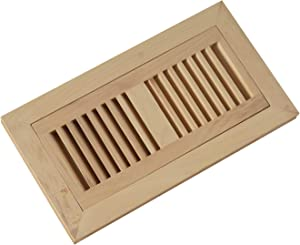 """WELLAND 4X10 Inch Hickory Wood Flush Mount Floor Register Vent Unfinished, 3/4"""" Thickness"""