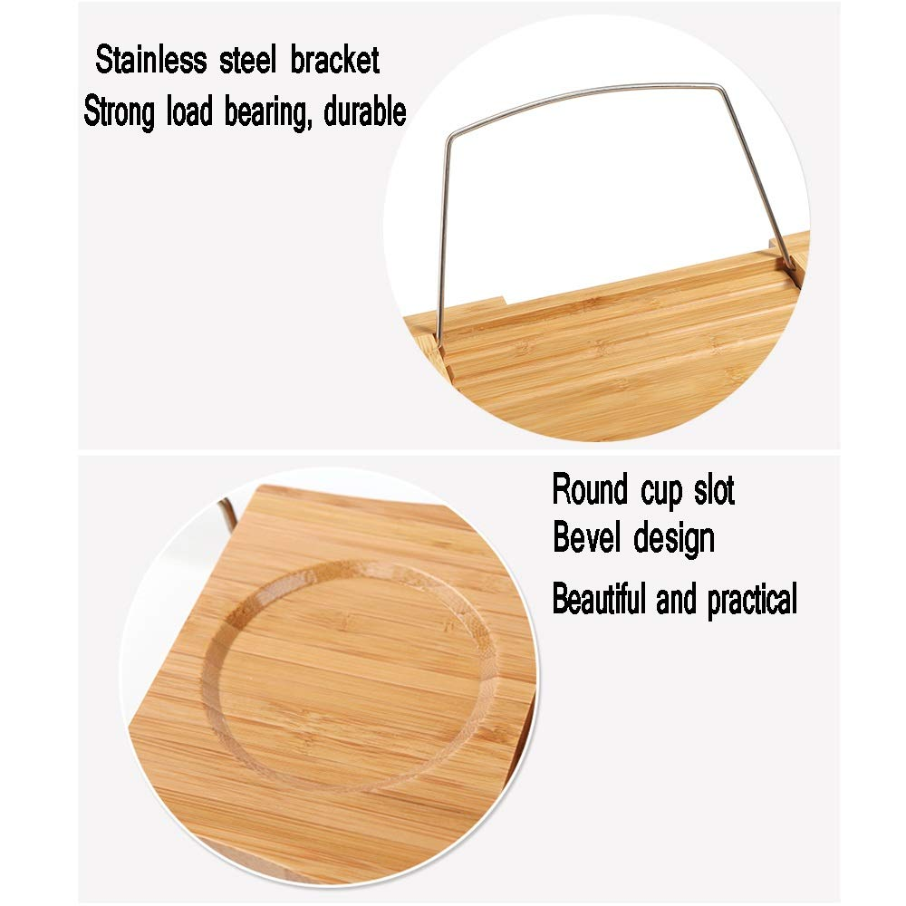 XSJZ Bathtub Rack, Bath Retractable Non-Slip Bathroom Bathroom Multi-Function Solid Wood Rack (Color : B) by GYL Bathtub shelf (Image #4)
