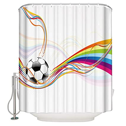 Xspring Modern Colorful Football Shower Curtain Home Decoration Mildew Resistant Waterproof Polyester Fabric Machine Washable