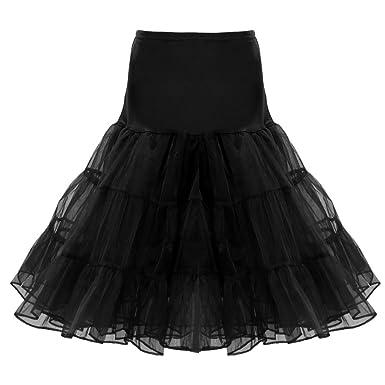Retro Jupon Long Jupon Année 50 Chic Crinoline Rockabilly Petticoat Tutu -  Noir, S 2090759bddf6