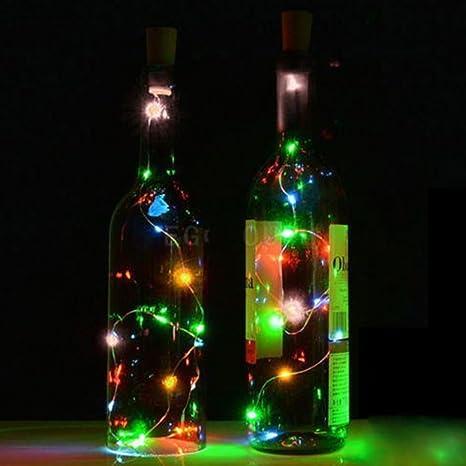 MAXGOODS 6Pcs Luces Bombillas LED en Forma de Corcho de Botella de Vino para Fiesta Bodas Festival Conciertos Decoración Árboles Navidad Carnaval ...