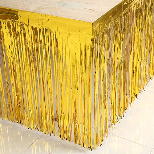 Blukey Metallic Foil Fringe Table Skirt 29x108-Inch Gold Tinsel Table Skirts for Rectangle Tables ()