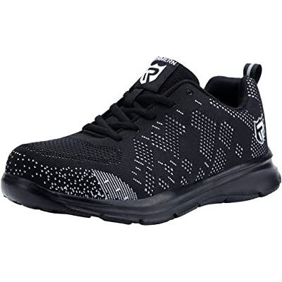DYKHMILY Steel Toe Work Shoes for Men and Women Trainers Shoes Puncture-Proof Work Safety Sneakers Light Breathable Industrial & Construction Shoe: Shoes