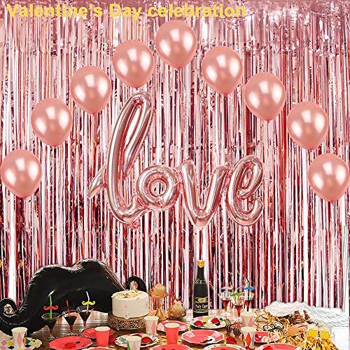 Lemoning  2Pcs Foil Curtains Backdrop Tinsel Backdrop Wedding Birthday Party Stage Decor -