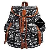 xhorizon TM FL1 Vintage Floral Printed Leisure Canvas Shoulder Backpack Travel Bag (Black Elephant)