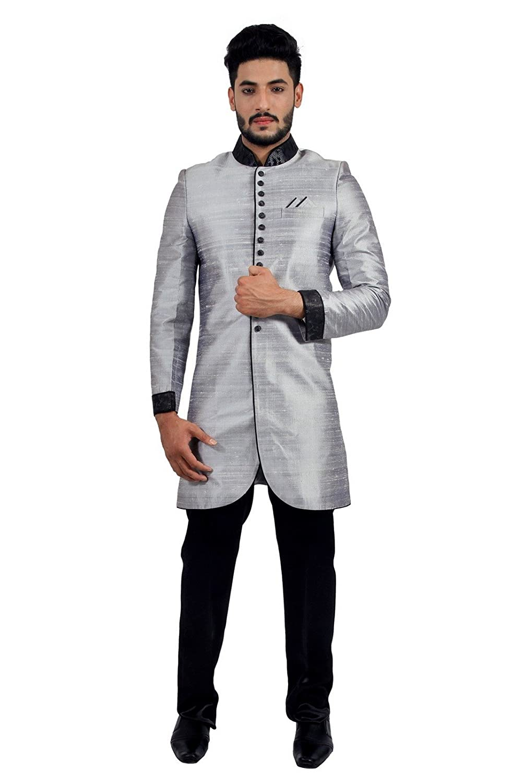 Amazoncom Silver Grey Indian Wedding Indo Western Sherwani