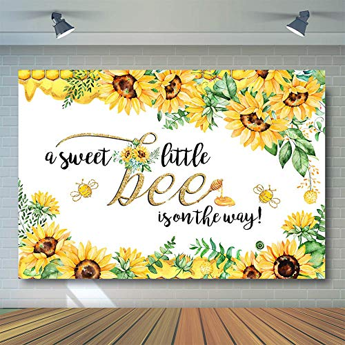 COMOPHOTO Bee Baby Shower Backdrop A Sweet Little Bee Sunflower Photography Background 7x5ft Honey Bumble Bee Baby Shower Party Banner Backdrops -