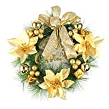 Powstro 12'' Christmas Wreath Winter Berry Pine Wreath Door Wall Decoration Christmas Decorated Ornament Wreath Xmas Hanging Ornaments for Door Wall Window Decoration (Color is Sent at Random)