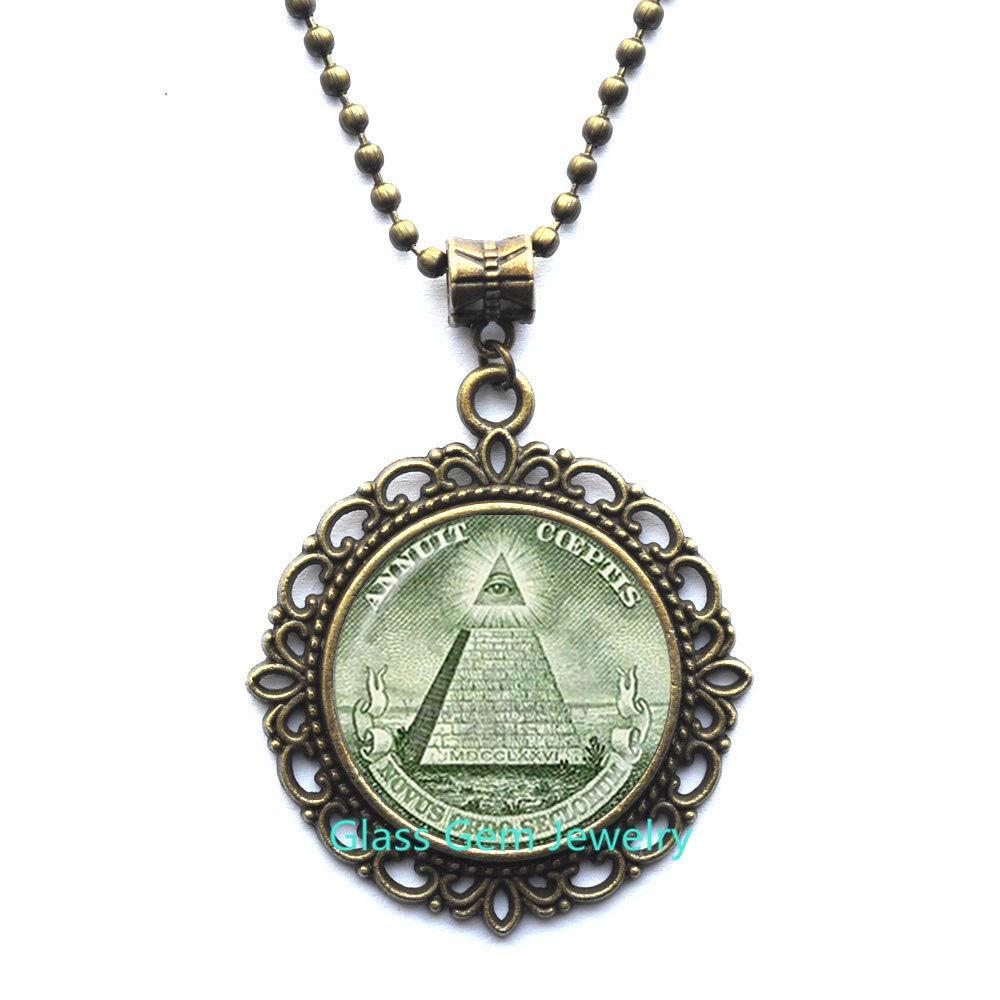 Annuit Coeptis Locket Pendant Egypt Pyramid Locket Necklace Eye of Providence Masonic Illuminati Masonic Sign Sacred Geometry Locket Necklace Q0271