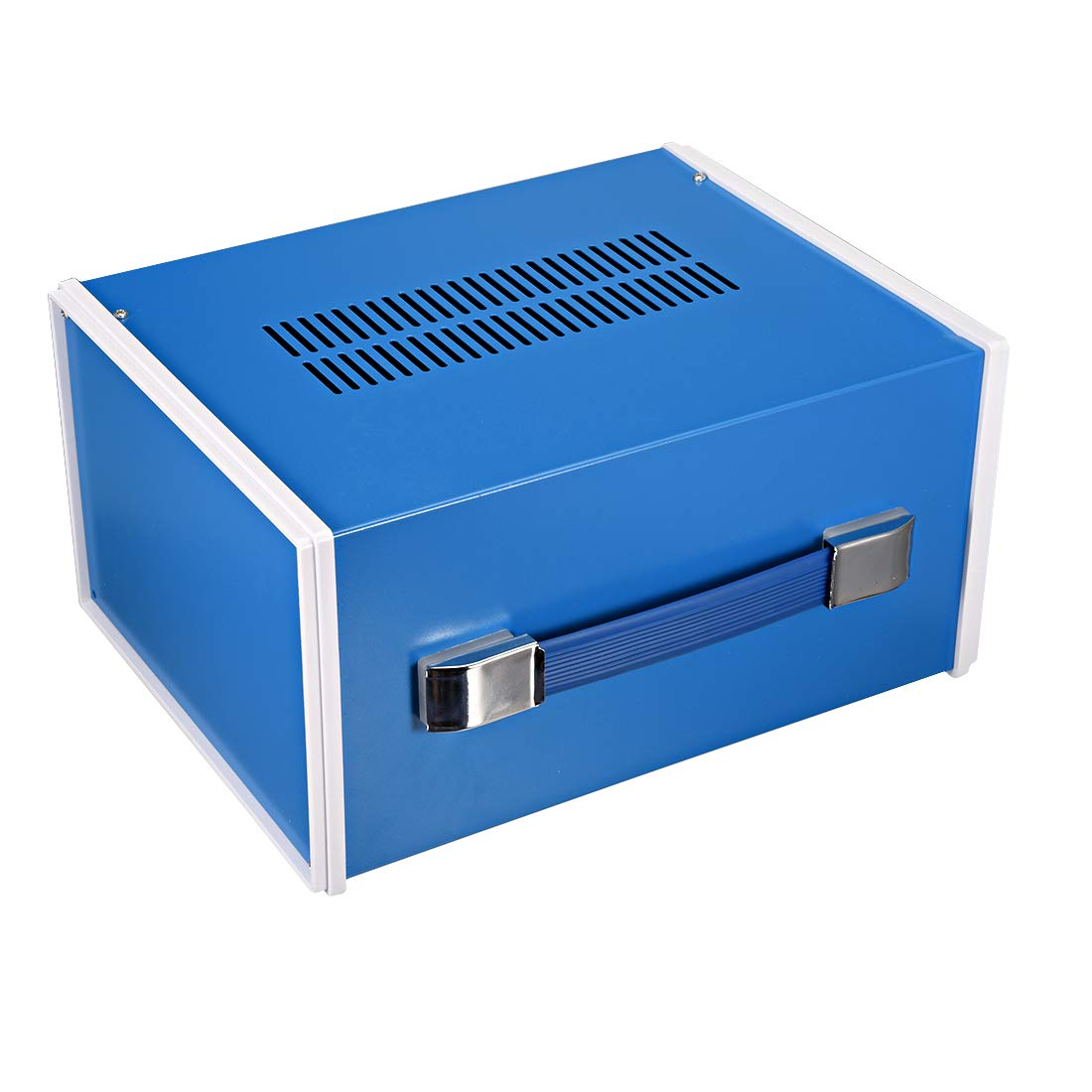 uxcell 270140210mm 10.635.518.27inch Metal Blue Project Junction Box Enclosure Case with Handle