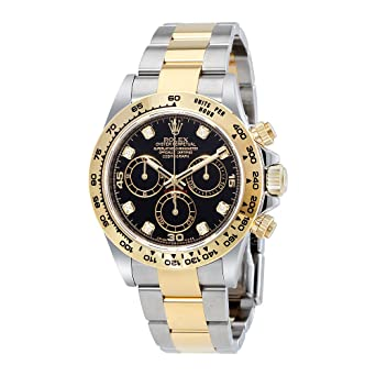 Amazon Com Rolex Cosmograph Daytona Black Diamond Dial Steel And