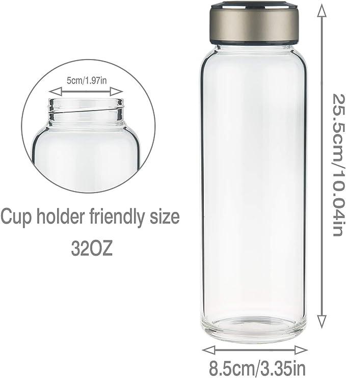 Botella de Agua de Cristal con Funda de Neopreno y Tapa de Acero Inoxidable a Prueba de Fugas SHBRIFA Botella de Agua de Vidrio de Borosilicato Deportivo 1000ml