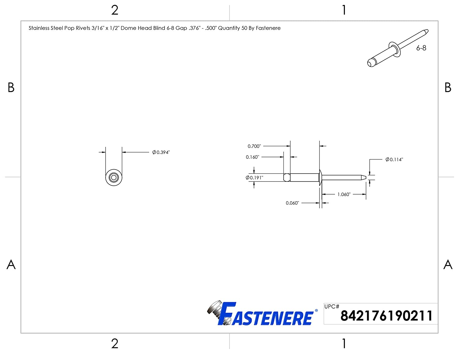 .250 Quantity 50 by Fastenere Stainless Steel Pop Rivets 5//32 x 1//4 Dome Head Blind 5-4 Gap .188
