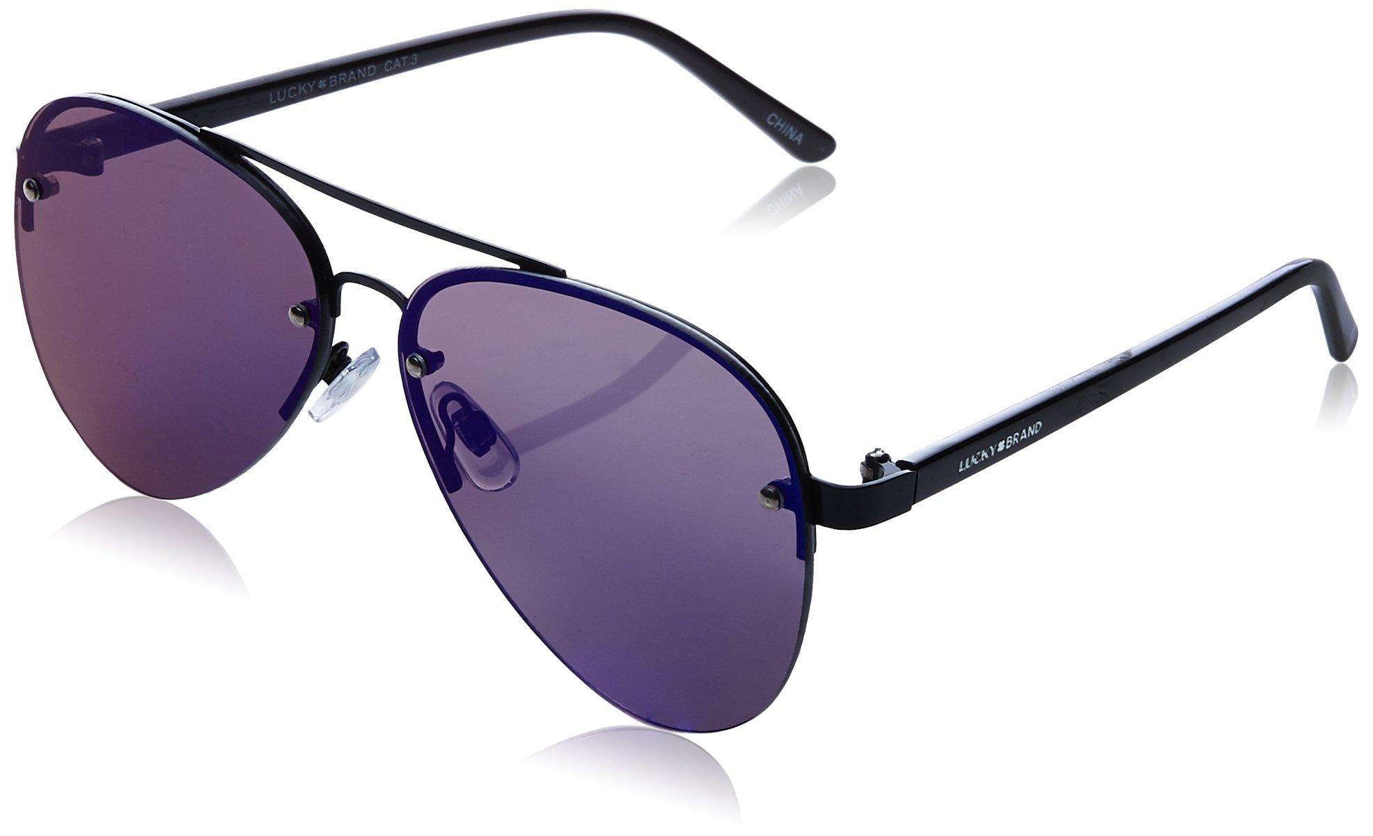 Lucky Avalbla65 Aviator Sunglasses, Black, 65 mm