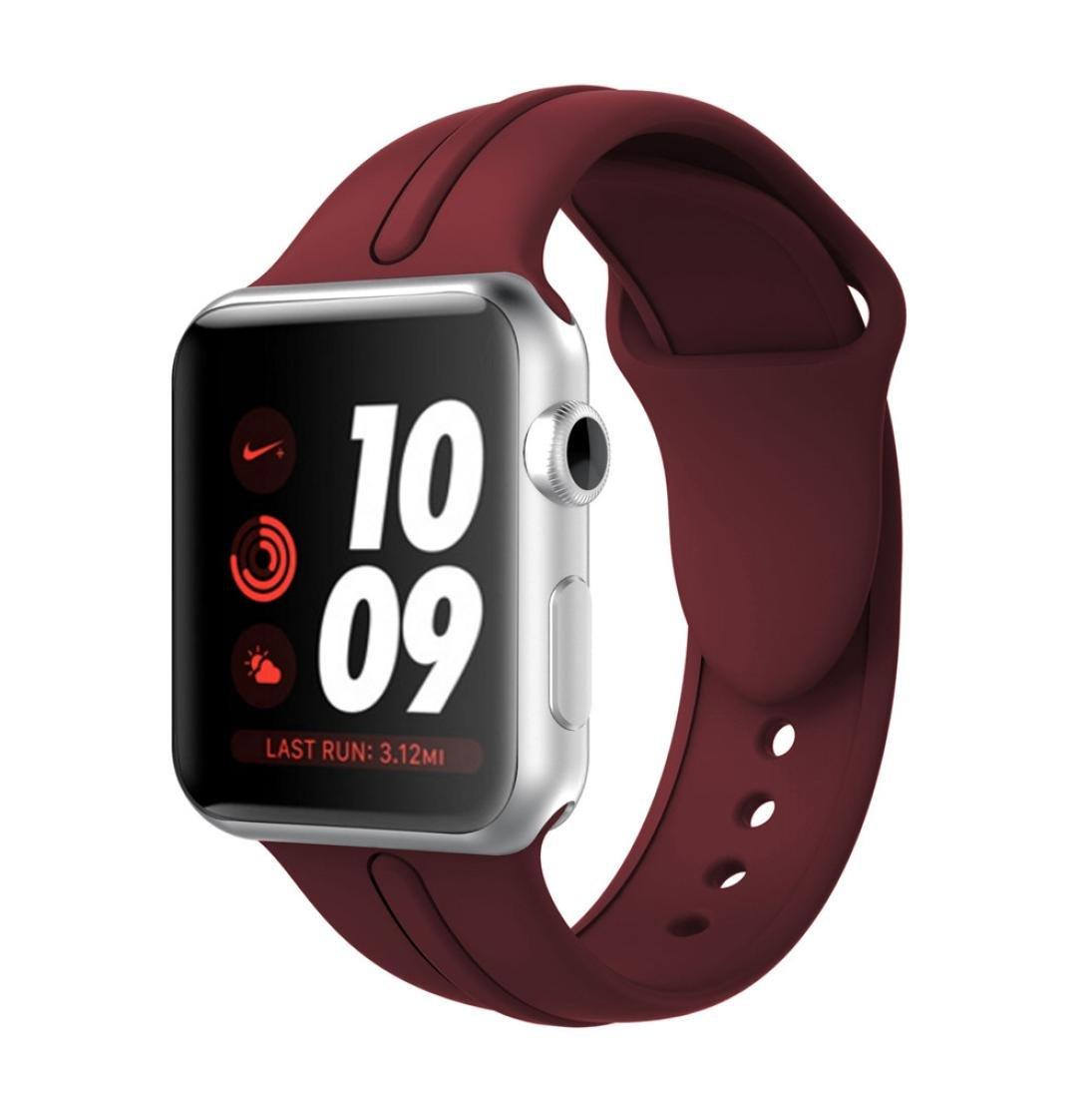 Sunfei For Apple Watch, New Fashion Sports Silicone Bracelet Strap Band New Fashion Sports Silicone Bracelet Strap Band for Apple Watch Series 3/2/1 (42MM, Wine)