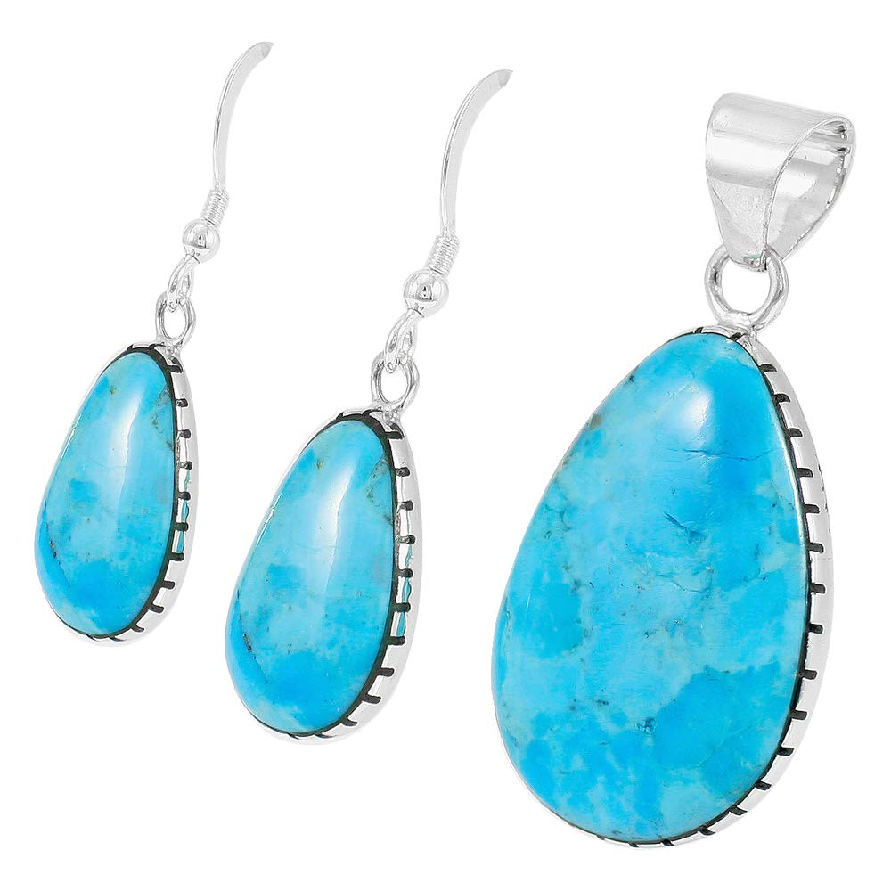 Sterling Silver with Genuine Turquoise Necklace & Earrings Set (SELECT COLOR) (Turquoise) by Turquoise Network (Image #2)