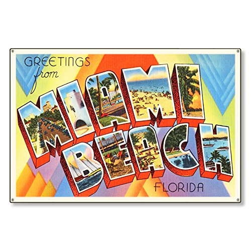 (Miami Beach Florida fl Old Retro Vintage Travel Postcard Reproduction Metal Sign Art Wall Decor Steel Sign Tin Sign 12x18 inch.)