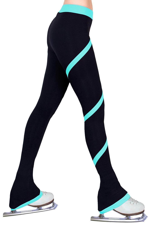 Durevole Pattinaggio Artistico Pratica Pantaloni Pile Polar A Righe A Spirale - Resistente al Vento E All'abrasione Pattinaggio sul Ghiaccio Leggings Collant, Verde,10