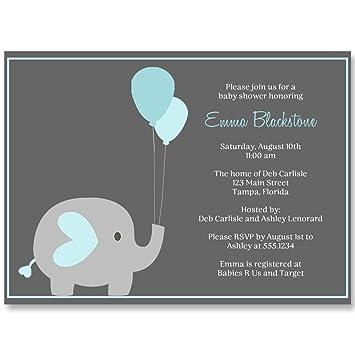 Amazon elephant baby shower invitations boys blue aqua gray elephant baby shower invitations boys blue aqua gray balloon its filmwisefo