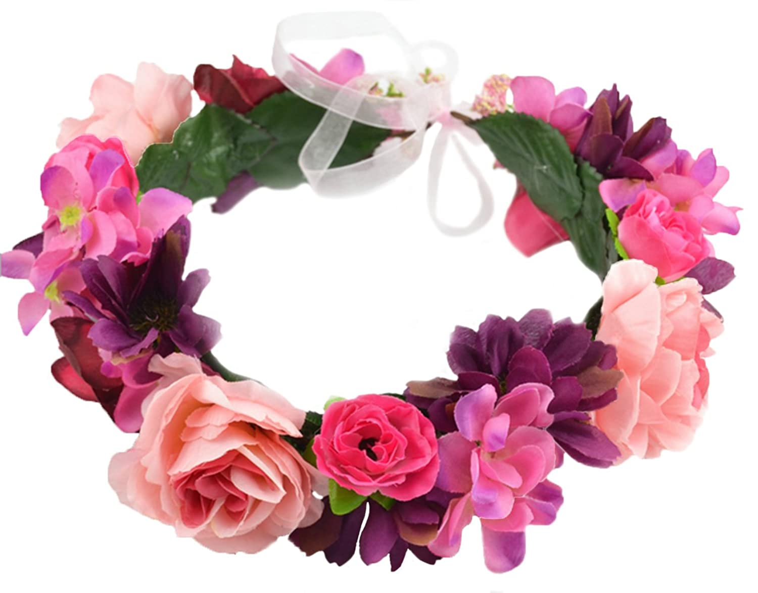 Vivivalue Flower Wreath Headband Crown Floral Garland with Ribbon for Wedding